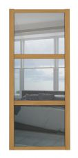 Shaker Sliding Wardrobe Door- OAK FRAME - 3  MIRROR PANELS